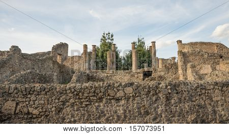 POMPEI ITALY- NOVEMBER 13: Architecture detail of temple column. Pompeii was declared in 1997 by UNESCO World Heritage Site with about 3 million visitors last year on november 13 2016 in Pompeii - Italy