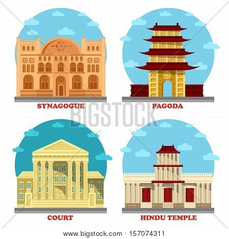 Court of law and religion temple, pagoda and synagogue, hindu temple. Buddhism symbol and courthouse steps, spiritual jewish synagogue and hinduism india religion architecture, church and law theme