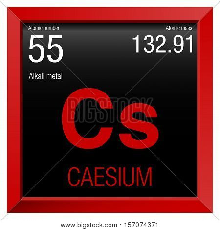 Caesium symbol. Element number 55 of the Periodic Table of the Elements - Chemistry - Red frame with black background