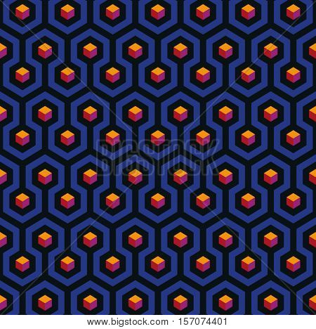 Abstract seamless pattern based on hexagons, Op-Art style