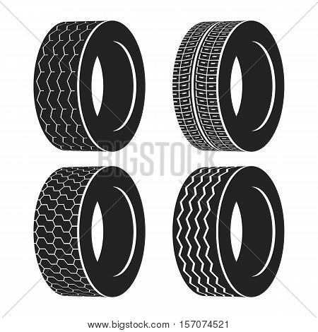 Bus rubber tire for wheel, truck or auto tyre. Isolated icon of transport race tyre or winter protector. For vulcanization banner or garage logo, automobile tyre balancing service or vehicle tire