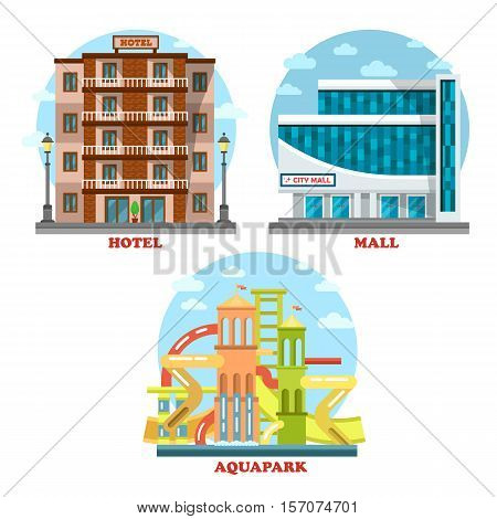 Hotel and aqua or water park, mall or supermarket exterior architecture view. House for travel, tourism, waterpark leisure, summer vacation building. For hotel or motel banner, water park building logo