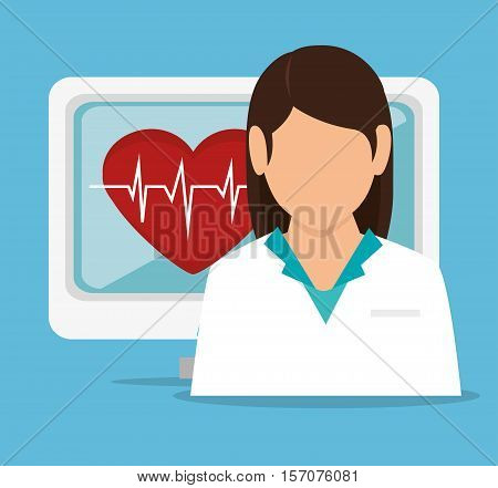 girl doctor computer pulse heart vector illustration eps 10