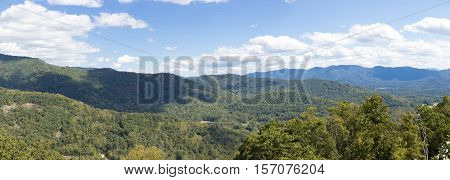 large format panorama of the Blue Ridge Mountains in North Carolina