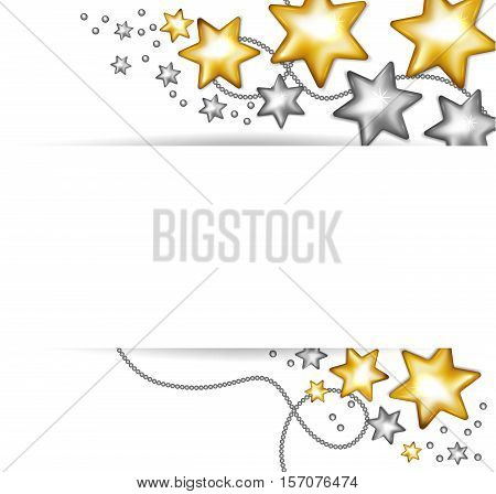 Gold and silver stars banner. Holiday christmas toy banner. Vector illustration.