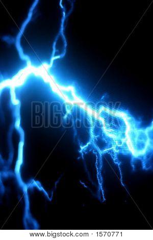 Blue Electricity Storm Against A Black Background