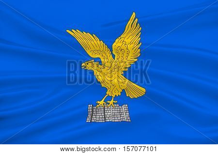 Flag of Friuli-Venezia Giulia is one of the 20 regions of Italy. 3d illustration poster