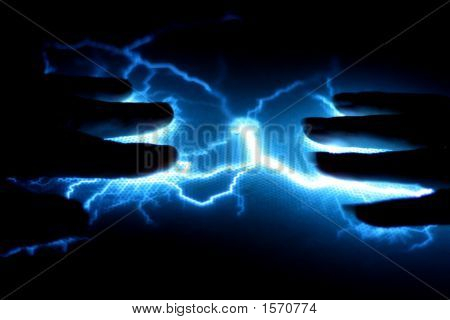 Two Hands Connected By Electricity