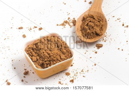 Coconut Sugar. Low glycemic index over a white background