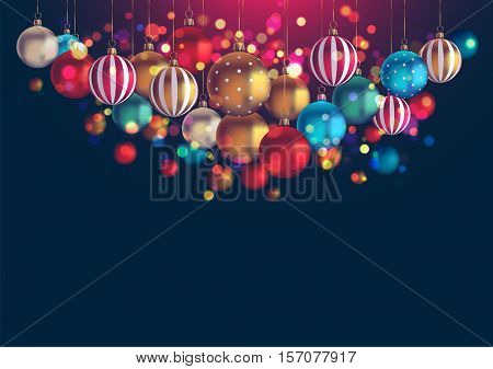 Christmas background with lots of hanging baubles and copy space, eps10 vector
