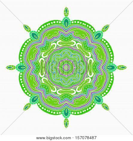Green vector mandala. Abstract carbage image. Mandala.