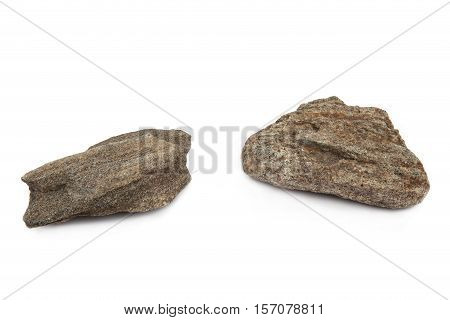 Stones isolated on white background. Two  stones  eroded of water.