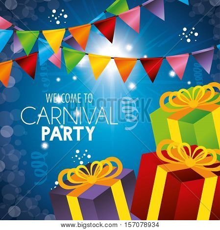 welcome carnival party gifts garlands confetti vector illustration eps 10