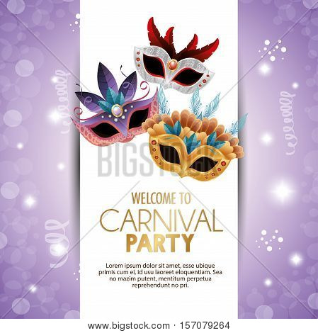 welcome carnival party cute masks with feathers bright purple background vector illustration eps 10