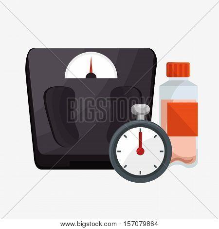 set weight scale chronometer bottle protein vector illustration eps 10