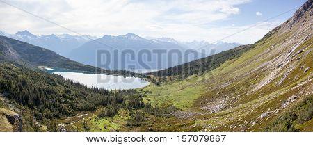 The panoramic view with Upper Dewey Lake (Skagway Alaska).