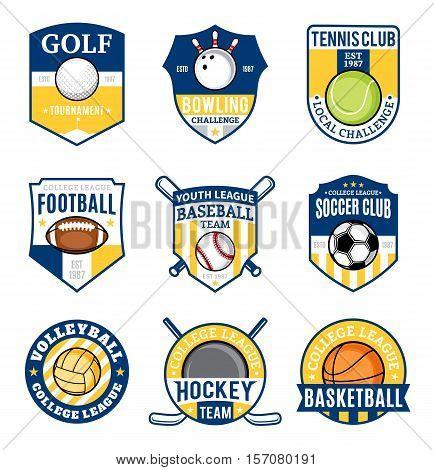Set Of Sport Team Logo For Nine Sport Disciplines
