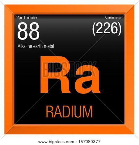 Radium symbol. Element number 88 of the Periodic Table of the Elements - Chemistry - Orange frame with black background