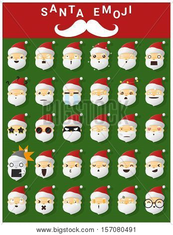 Santa claus emoji icons , vector, illustration
