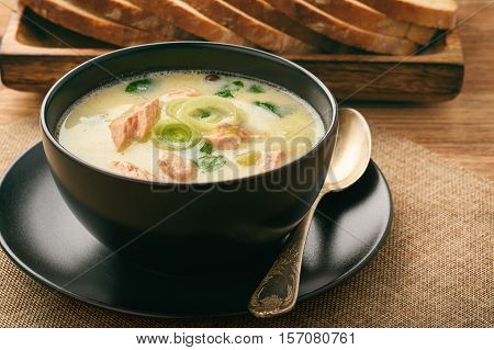 Chowder (fish soup) with rainbow trout .