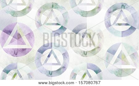 Watercolor geometric sacral circle triangle grunge textured art pattern