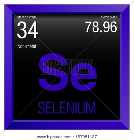 Selenium Symbol. Element number 34 of the Periodic Table of the Elements - Chemistry - Violet frame with black background