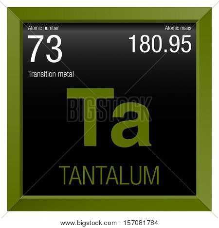 Tantalum Symbol. Element number 73 of the Periodic Table of the Elements - Chemistry - Green frame with black background