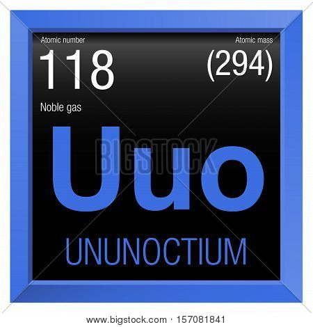 Ununoctium symbol. Element number 118 of the Periodic Table of the Elements - Chemistry - Blue frame with black background
