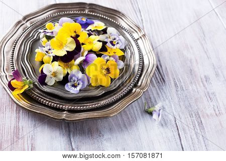 Mix edible flower on metal plate on old white wooden background with copy space