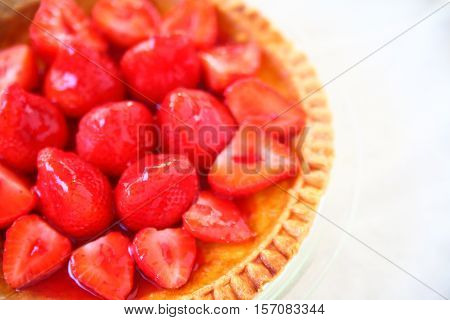 Custard pie with fresh strawberries with copy space