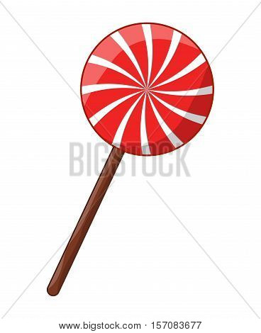 Swirl Striped Lollipop Peppermint Vector Symbol Icon Design.