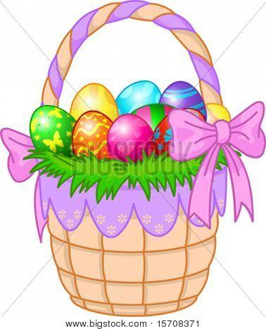 Beau panier de Pâques avec des oeufs colorés