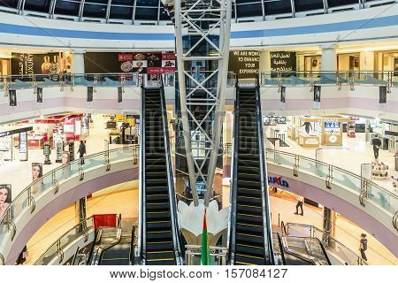 ABU DHABI - NOVEMBER 4 2016: Luxury glass interior shopping center Marina mall in Abu Dhabi UAE. Marina Mall is Abu Dhabi's premium shopping mall and entertainment landmark. Marina Mall. Abu Dhabi.