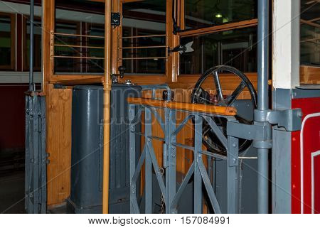 View of the old Leningrad wagon inside. Image of the cabin where the tram controls.