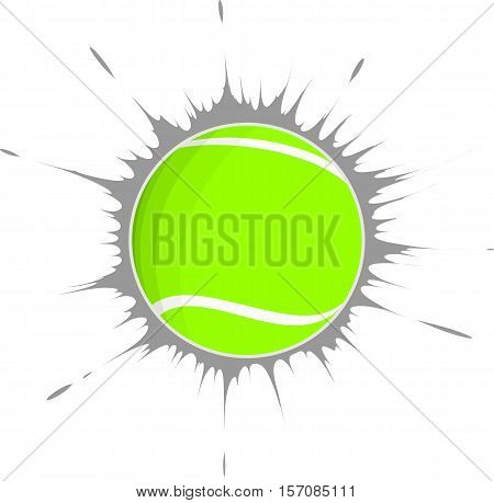 vector tennis ball and a gray background stain