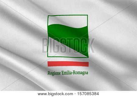 Flag of Emilia-Romagna is an administrative Region of Northern Italy. 3d illustration