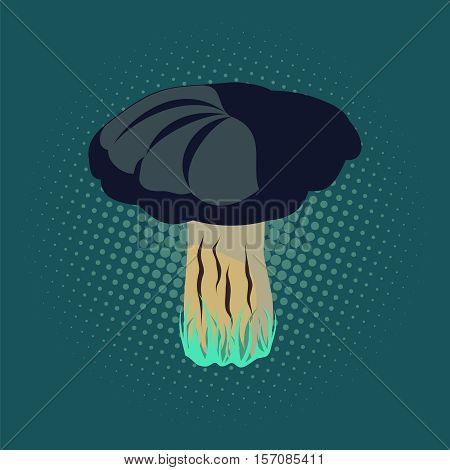 Vector illustration of mushroom, pop art retro illustration.