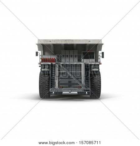 Large haul truck ready for big job in a mine. Front view. On white background. 3D illustration