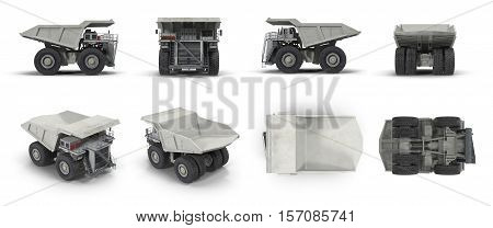 Large haul truck ready for big job in a mine. Renders set from different angles on a white background. 3D illustration