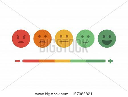 Abstract vector feedback emoticon flat design icon set