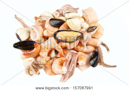 a group of seafood frozen isolated on white
