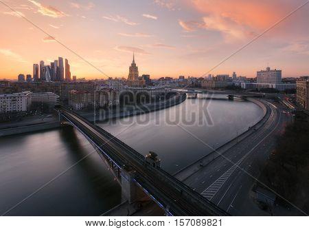 Smolensky Metro Bridge, Government Building, Ukraine Hotel during sunset in Moscow