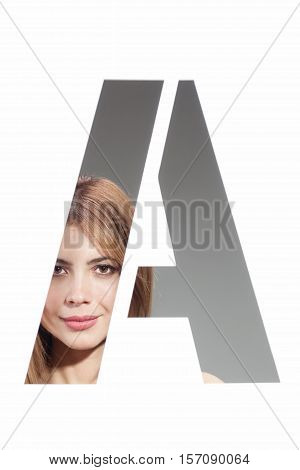 girl portrait posing behind the letter