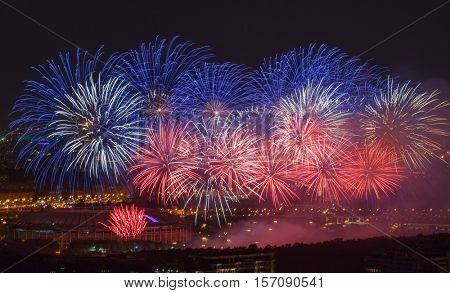 Beautiful firework above Luzhniki stadium during festival at night in Moscow, Russia