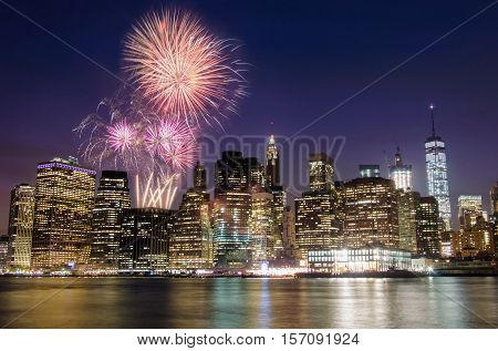 Firework Over Manhattan Island, New York