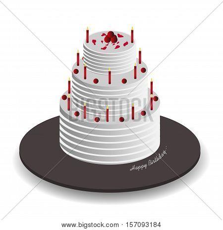 Isometric Celebration Cake, Birthday Cake, Wedding Cake, New Year Cake, Vector, Illustration