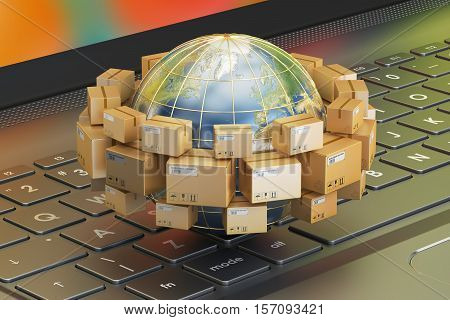 Global shipping and delivery concept parcels cardboard boxes around the Earth on laptop. 3D rendering