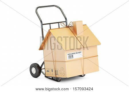 Household moving services concept. Hand truck with cardboard house parcel 3D rendering