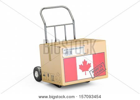 Made in Canada concept. Cardboard Box on Hand Truck 3D rendering isolated on white background