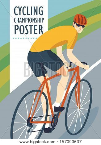 Racing road cyclist in action on landscape background. Colorful poster for competition and championship or other cycling event. Editable vector illustration
